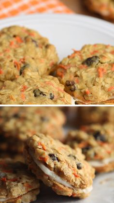 These Carrot Cake have all the flavors of your favorite carrot cake rolled into cookies. Soft, chewy, and sandwiched with a wonderful cream cheese frosting! Carrot Cake Cookies, Cookies Soft, Chip Cookies, Pumpkin Oatmeal Cookies, Carrot Cake Muffins, Gourmet Recipes, Cookie Recipes, Dessert Recipes, Cookie Desserts