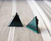 Boucles d'oreilles triangles vert emeraude