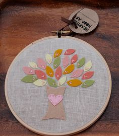 Embroidery Hoop Art Felt Tree with Pink Heart  MADE TO ORDER by Catshy Crafts.  via Etsy.