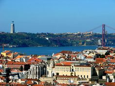 View of Ponte 25 de Abril (Bridge) and of Christ the Redeemer, Lisbon, Portugal