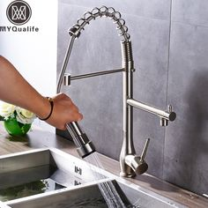 99.71$  Watch here - http://alikh3.shopchina.info/1/go.php?t=32816944174 - Brushed Nickel Pull Down Kitchen Faucet Deck Mounted Swivel Spring Kitchen Sink Hot and Cold Taps 360 Rotation Side Spout   #buyonline