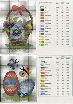 Pansies in a basket and Easter Eggs with Butterflies charts with color