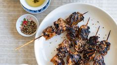 Marinated skewers are a popular northern Chinese street food. Skewers are barbecued to order over smoky charcoal, but we've used a barbecue plate in this recipe for ease. Easy Chinese Recipes, Asian Recipes, Easy Recipes, Skewer Recipes, Sweets Recipes, Chicken Stuffed Peppers, Pepper Chicken, Chinese Street Food, Chinese Food