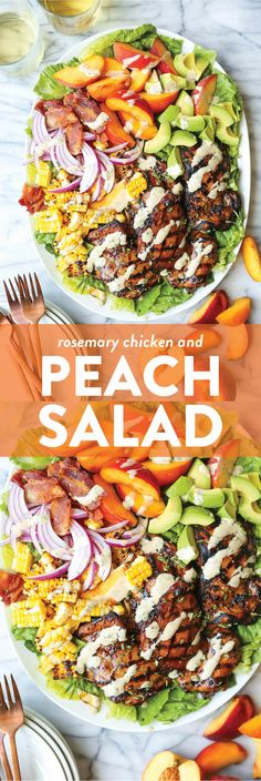 Rosemary Chicken and Peach Salad - Damn Delicious Peach slices, grilled rosemary-thyme chicken, charred corn kernels and crisp bacon with the creamiest balsamic dressing! Peach Chicken, Rosemary Chicken, Creamy Balsamic Vinaigrette, Peach Slices, Chicken Salad Recipes, Salad With Chicken, Chicken Salads, Healthy Recipes, Delicious Recipes