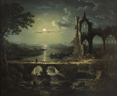 title) Moonlit River Scene with a Ruined Gothic Church William Pether Oil on canvas, 61 x 73 cm. National TrustMoonlit River Scene with a Ruined Gothic Church William Pether Oil on canvas, 61 x 73 cm. Dark Fantasy Art, Dark Art, Fantasy Landscape, Landscape Art, Landscape Paintings, Memes Arte, Moonlight Painting, Art Uk, Gothic Art