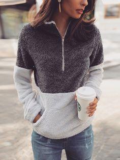 0614b5d5b6a Contrast Color Quarter Zip Teddy Sweatshirt  beautyfashion Women s Casual  Fashion
