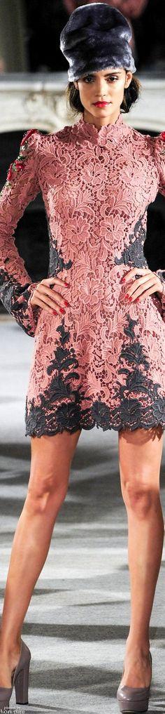 Yulia Yanina ~ Couture Fall Pink + Grey Lace Mini Dress 2015