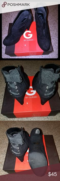 Guess Booties New...with box. G by Guess Tarrah Booties, with lace design and bow on the back. G by Guess Shoes Ankle Boots & Booties