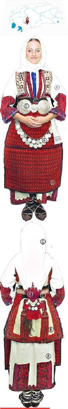 Gorni Bitolski sela  young woman dressed for a festive occasion,turn of the 20th century  Košula alska (dress);  Alski šaak (bodice made of klašna);  Pojas (sash);  Alska futa (apron);  Pafti kubelii (large silver buckle) and  Skopec (strings of coins);  Darkma (white cotton scarf embroidered in one corner with red silk threads called  Gugan