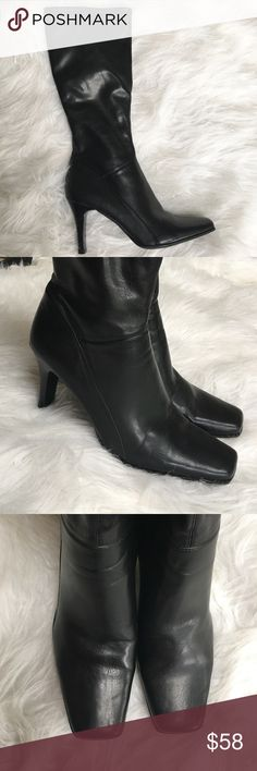Nine West Black Faux Leather Boots Size 9 Gorgeous over the calf black Faux leather heeled boots by Nine West. Side zip. (One cop on heel in pic above - in otherwise great condition). Size 9. Nine West Shoes Heeled Boots
