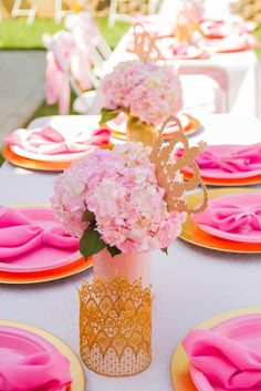 Pink and Gold Birthday Party table decorations! See more party planning ideas at CatchMyParty.com!