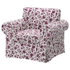 EKTORP Armchair by IKEA in Hovby Lilac Purple floral pattern, discontinued at IKEA