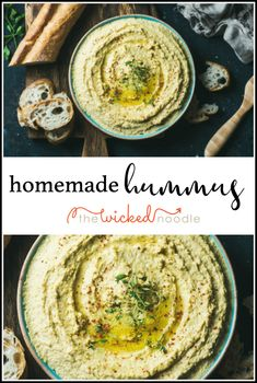 This easy hummus recipe is made in your Vitamix or food processor and is the creamiest you'll ever try! #vitamixhummus #homemadehummus #thewickednoodle