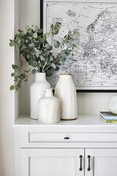 Large Black and White Map Art + White Vases + Eucalyptus Greenery + Styling a co. - Large Black and White Map Art + White Vases + Eucalyptus Greenery + Styling a counter Home Decor Inspiration, Home Decor Accessories, Home Remodeling, White Vases, Home Decor, House Interior, Room Decor, Interior Design, Vases Decor