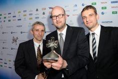 "Preisträger ""Medizin und Wissenschaft"": Prof. Dr. Hermann Brenner, Dr. Christian Stock und Dr. Michael Hoffmeister (v.l.n.r.) bei der Felix Burda Award Gala 2013 im Hotel Adlon in Berlin am 14. April 2013"