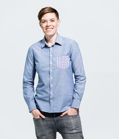 Light blue chambray with pink gingham contrast pocket