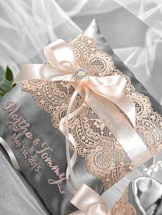 Lace Ring Bearer Pillow Grey Wedding Pillow by forlovepolkadots