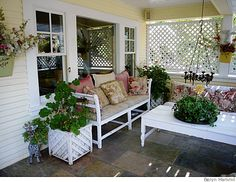 lots of great ideas on this porch