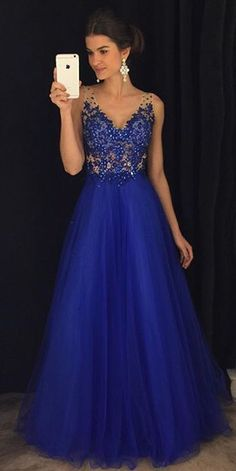 Trendy prom dresses - Gorgeous A Line V Neck Open Back Royal Blue Lace Long Prom Dresses With Beading CR 778 – Trendy prom dresses Royal Blue Prom Dresses, Cute Prom Dresses, Sweet 16 Dresses, Trendy Dresses, Dance Dresses, Ball Dresses, Elegant Dresses, Sweet Dress, Homecoming Dresses