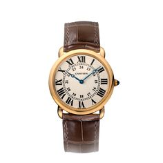 """$13,000. Ronde Louis Cartier watch, large model Manual, pink gold, sapphire REF: W6800251 """"Incorporating Roman numerals, blue sword-shaped hands, a winding mechanism crowned with a sapphire and a rail-track minute circle: the Ronde Louis Cartier watch is a classic timepiece by Cartier. The alligator-skin strap may be paired with a choice of rose gold or yellow gold. A diamond-set version is also available."""""""