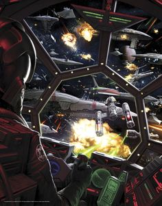"Breathtaking Art that Puts the ""Wars"" in Star Wars - A view from the hot seat as a TIE fighter pilot weaves through the Battle of Tingle Deepspace Besh by Darren Tan"