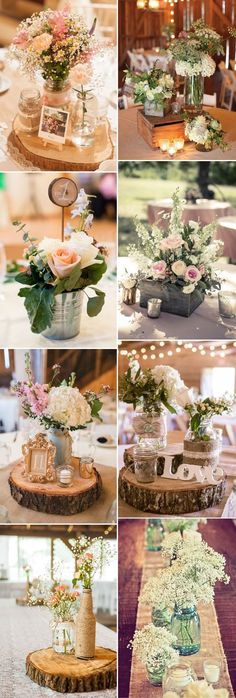 Rustic wedding ideas 30 ways to use mason jars rustic mason a lot of great ideas with reused wine bottles or bud vases look really great with wooden slabs at different layers of center pieces mit baumnstammschreiben junglespirit Gallery