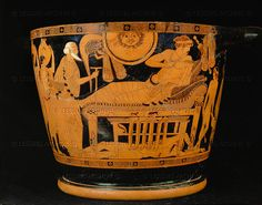 Brygos Vasepainter.Trojan King Priamus begs Achilles to let him have the body of Hector, his slain son. Hector's body lies under Achilles' bed. Red-figured Attic skyphos from Caere, around 490 BCE