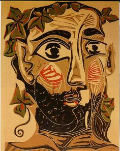 Picasso -man met baard 1962 / lino kleurendruk This must be several linocuts to create the different colors. It looks as if he added some details by hand to the finished print.