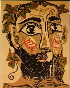 Pablo Picasso, linocut, homme barbu, 1962
