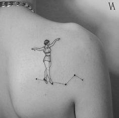 Tight rope walker tattoo by Violeta Arús
