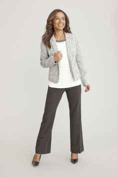 JCPenney: Liz Claiborne jacket, beaded-neck top and secretly slender pants? Business Fashion, Business Casual, Fashion Walk, Professional Wear, Jewelry Storage, Dressy Outfits, Wardrobe Ideas, Work Attire, Liz Claiborne