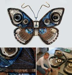 Piano keys, bits of broken plates and various other waste materials go through a transformation of their own to become the beautiful large-scale butterfly sculptures of Michelle Stitzlein.