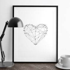 Polygon Love Heart http://www.amazon.com/dp/B016N2KD96   inspirational quote word art print motivational poster black white motivationmonday minimalist shabby chic fashion inspo typographic wall decor