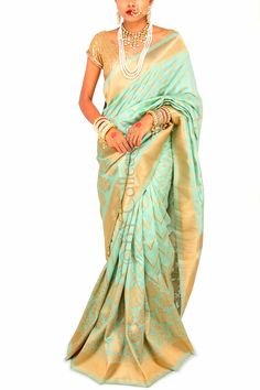 Palm Jade Brocade Sari with Sequins (Code - S1717) Price: INR 6990 To shop visit: http://www.6ycollective.com/products/S1717/