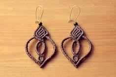 macrame earrings • boho • purple
