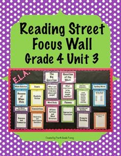 Reading Street Focus Wall for Grade 4, Unit 3