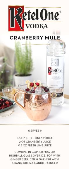 Try a seasonal twist on the classic Moscow Mule recipe by adding the fresh flavor of cranberry. Mix up a round of Cranberry Mules for your guests this holiday season by combining 1.5 oz Ketel One® Vodka, 2 oz cranberry juice, and 0.5 oz fresh lime juice in a copper mug or highball glass over ice. Top with ginger beer, stir, and garnish with cranberries and candied ginger.
