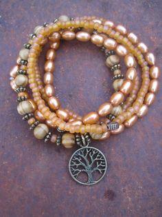 Sunset Orange Pearl and Wood Beaded Gypsy Boho Stacking Bracelet Set with Tree of Life Charm on Etsy, $27.00