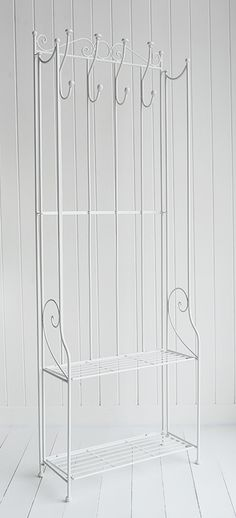 St Malo white freestanding coat rack with shelves for bathroom and hall