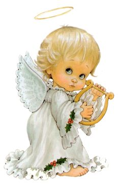 Cute Angel with Harp Free PNG Clipart Picture