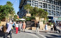 Built by HASSELL in Melbourne, Australia with date Images by Bonnie Savage. Designed for the 2013 Melbourne Food and Wine Festival, the Urban Coffee Farm and Brew Bar by HASSELL attempts to pla. Urban Agriculture, Urban Farming, Urban Gardening, Cabinet D Architecture, Landscape Architecture, Temporary Architecture, Innovative Architecture, Container Architecture, Savage