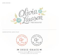 #33. Pinned because I like the grayish-taupey color used on the name. Also like how the designer has offset the two parts of the name instead of the typical horizontal. Interesting. Custom PreDesigned / Watercolor Botanical design and Logo Stamp - photography or boutique logo