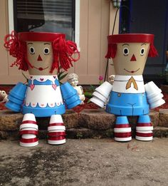 Terra cotta pot crafts Raggedy Ann and Andy