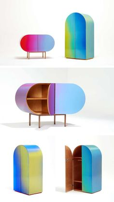 Made by design studio Orijeen, these vibrant cabinets appear to change color due to their lenticular surfaces.