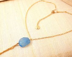 SEA BLUE Chalcedony TASSEL Fringe Necklace by FemininePersonae