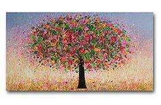 CONTEMPORARY ART ORIGINAL PAINTING 48'' HUGE XL CANVAS TREE FLOWERS