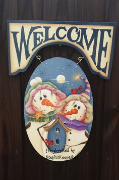 Snowman Couple Welcome Sign por stephskeepsakes en Etsy
