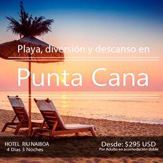 Plan Punta Cana. Incluye   + Trasl. Aerop-Hotel -Aerop  + 3 noches 4 días en hotel RIU NAIBOA  con todo incluido   + DEPORTES ACUÁTICOS NO MOTORIZADOS  + Tarjeta de asistencia médica hasta los 64 años