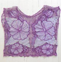 purple hibiscus flowers on purple netting / mesh [Bali cutwork shirt]