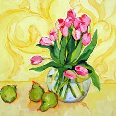 Pink Tulips - 20 x 20 by Beth Munro